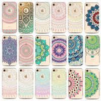 Wholesale Transparent Flower Art - For iPhone X case art print Mandala Tpu case cover For iPhone 6 6plus 7 7Plus 8 plus flower cell phone case