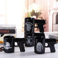 Wholesale Funny Office Mugs - Creative Pistol Grip Coffee Cups Mug Funny Gun Skull Mug Milk Tea Cup Creative Office Ceramic Coffee Mug Drinkware CCA7895 48pcs