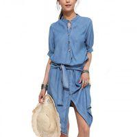 Wholesale Petal Fold - 2016 new hot sell stand Collar lace waist Slim Casual dresses Irregular Fold denim women dress free ship 1517