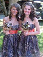 Wholesale line wedding dress brown sash resale online - Camo Bridesmaid Dresses Strapless Knee Length A Line Junior Bridesmaid Gowns Formal Wedding Party Dresses Honor Of Maid Gowns BA1930