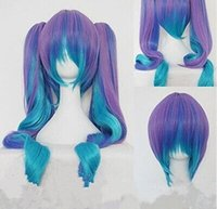 Wholesale Cheap Lolita Cosplay - Wholesale cheap Gothic Lolita Wig + 2 Pig Tails Set Pastel Rainbow Blend Cosplay wig