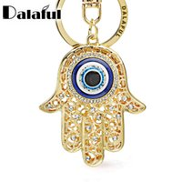 Wholesale hand bag heart for sale - Group buy Lucky Hamsa Fatima Hand Eyes Keychains Charm Amulet Purse Bag Buckle Pendant For Car Keyrings key chains holder women K236