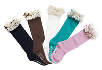 Wholesale Lace Top Boot Socks Wholesale - 2016 Baby Girl Lace Top Socks Kids Stockings Classic knee BOOT high socks with lace solid color cotton socks 5color hoose Free Shipping
