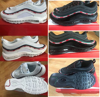 Wholesale Men Max Running - 2017 With Box Men Shoes 97 Undefeated x Max Running Shoes Sneakers Men Outdoor Shoes Black White Free Drop Shipping US5.5-12