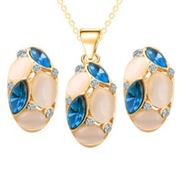 Wholesale Top Bride China - Opal Crystal Bride Jewelry Sets Fashion Top Quality Necklace Earrings Sets Cheap Jewelry Sets For Women 42C42