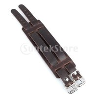 Großhandels-Freies Verschiffen Brown Leather Buckle Adjustable Wrist Band Armband mit Doppel-Bügel