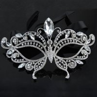 Wholesale Venetian Mask Rhinestones - 2016 Silver Tone Venetian Bridal Masquerade Rhinestone Crystal Eye Mask Halloween Fancy Dress Ball Party Mask