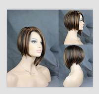peluca llena diaria de cabello al por mayor-Rihanna Style Medio Largo Straight Brown Mix Color Pelo sintético Moda Daily Full Pelucas High Temperture Fiber