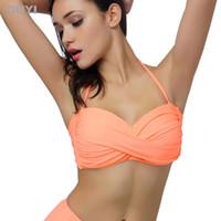 Wholesale E Pads - 1510 Bikini Top Only 2015 Summer Hot Sale Custom Solid Sexy Wrinkle Push Up Padded Retro Vintage Swimwear Woman E F XXXL Plus Bra 360