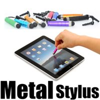 Wholesale Ipad Mini Strap - Bullet Stylus Metal Touch Pen with Dustproof Plug Strap Capacitive for iPad Mini iPhone 4S 5S 6s Samsung Galaxy Note 2 3 4 Xiaomi Lenovo
