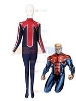 Wholesale Xxl Online Movies - The most popular Blue & Red Captain Britain Spandex Superhero Costume Online wholesale no Hood