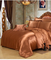 Wholesale King Single Doona - Luxury Silk bedding sets brown satin super king size queen single doona quilt duvet cover bed sheet fitted double bedsheet 6pcs