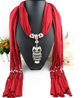 Wholesale Cotton Scarves Owl Pendants - New Infinity Scarves Women Ladies Girls Necklace Scarves Owl Pendant Jewelry Alloy Tassels Scarf Shawl 20 Colors LD