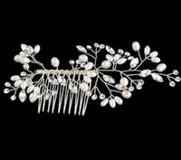 Wholesale Lace Headbands White - Bridal Hair Accessories Tiaras Hair Pins Lady's Natural Pearls Fascinators Bridal Wedding Flower 2017 Crystal Headband Hair Clip Pins
