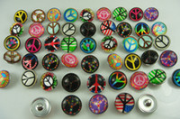 Wholesale Sign Accessories - new mixes diy beautiful Alloy Chunk Snap Button charm fit NOOSA bracelet diy charm Jewelry Accessories Wholesale Peace Sign Series 18mm #5