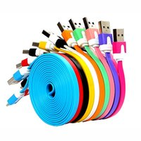 Wholesale Chinese S4 Android - 50pcs Lot Colorful 1M Noodle Flat Micro USB Cable Charging Cables Charger Line for Samsung S6 s5 s4 note 3 note 4 android charging cables