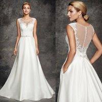 Wholesale Ella Rosa Wedding Dresses - 2015 New Ella Rosa Wedding Dresses A Line Bridal Gowns with Pocket Sheer Crew Neck Lace Appliqued Top Beaded Sash Sweep Train