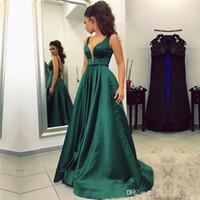 Wholesale Vestidos Noche Satin - Abendkleider Lang 2018 Vestidos De Noche Largos Elegantes Deep V-Neck Green Satin Long Evening Dresses Cheap Prom Dress