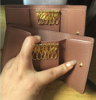 Wholesale Genuine Leather Wallet Red - card holders business Credit ID Card Holder Package key Wallet 4colors for choose bank card holder