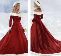 Wholesale Winter Shoulder Fur - 2017 Winter Wedding Dresses Vintage Off Shoulder Embroideries Long Sleeves Red Bridal Gowns Court Train Fall Winter Christmas Wedding Dress