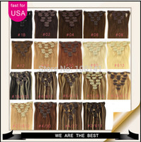 """Wholesale Blonde Clips - 70g 100g 120g 160g 16"""" - 26"""" Full Head Remy Clip in Human Hair Extension Black Brown Blonde optional 7PCS set 70g set 28 colors available"""