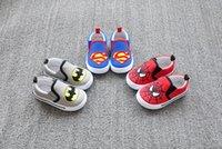 Wholesale Shoe Children Batman - Cartoon boy casual shoes explosion models children canvas shoes spring & autumn Superman Batman baby toddler shoes 8pair 16pcs C6