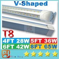 Wholesale Dlc Led Tube - V-Shaped 4ft 5ft 6ft 8ft Cooler Door Led Tubes T8 Integrated Led Tubes Double Sides SMD2835 Led Fluorescent Lights AC 85-265V UL DLC
