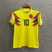 Wholesale Free Shipping Colombia - Free shipping would cup 2018 Colombia Soccer Jerseys Uniforms Yellow JAMES FALCAO CUADRAD AGUILAR GUARIN SANCHEZ top quality Football shirts