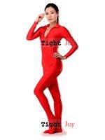 Wholesale Lycra Jumpsuit Costume - Wholesale-6 Colors Lycra Spandex Sexy Front Zip Bodysuit Jumpsuit Zentai Yoga Costume for women Free shipping