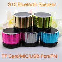 Wholesale Wholesale Home Subwoofers - S15 Bluetooth Speakers Mini Wireless Portable Speaker HI-FI Music Player Stereo Subwoofers Home Audio Support TF Card FM DHL Free MIS074