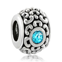 Wholesale pandora birthstone charms - Fashion women jewelry European light blue birthstone crystal metal bead loose charms fits Pandora charm bracelet