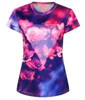 Wholesale Loose Galaxy Shirts Short Sleeve - Hot Fashion summer women t-shirt Women Galaxy Flower Printed Short Sleeve O-Neck Loose 2015 Women 3D T-Shirt