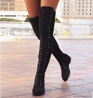 Sexy Lace Up Over Knee Boots Mujeres Botas Zapatos de mujer Mujer Square Heel Rubber Flock Snow Botas 2017 Winter Laarzen tamaño 35-43