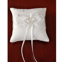 Atacado-White Wedding Party Popular Pillow portador de anel Almofadas de cristal Rhinestone # 74830