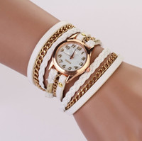 Wholesale Ladies Leather Bracelets Charms - Hot Selling Women Watches Lady Wrap Wrist Watches Round Dial Charming Bracelets Watches Mix 8 Colors Free Shipping Drop Shipping