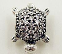 Wholesale Pandora Turtle Charm - New 2015 Summer 100% S925 Sterling Silver Sea Turtle Charm Bead with Cubic Zirconia Fits European Pandora Jewelry Bracelets