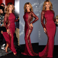 Beyonce Video Music Awards Celebrity Kleider Mit Langarm Mit Rundhalsausschnitt Sweep Zug Roter Teppich Sicke Abendkleider Backless Formales Kleid