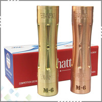 Wholesale material aluminum - High quality Manhattan M6 Mechanical Mod 100% Copper Brass Material NO any Aluminum with gift box fit 18650 Battery DHL Free