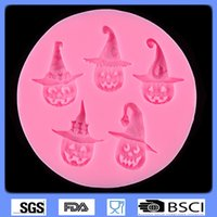 Wholesale Jelly Hat - halloween fondant molds Pumpkin hat for cake decoration FDA silicone baking tools chocolate pudding jelly mold soap mold