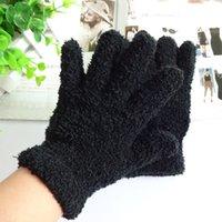 Wholesale Coral Winter Gloves - Wholesale-Men and Women Winter Gloves Warm Coral Fleece Magic Gloves Full Finger Mittens Solid Pure Black Wholesale ST717-17