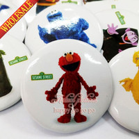 Wholesale Sesame Street Bags - 9pcs Sesame Street Pin Badge safety-pin decorate Round Brooch Badges 3.0cm Size Kids Birthday Gift Bags Clothing Accessories