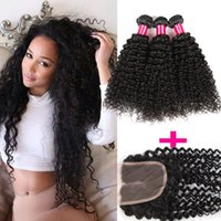 Wholesale Medium Brown Lace Closure - 8A Mongolian Kinky Curly Deep Wave Loose Straight Body Wave Virgin Hair 3Bundles With 1 Lace Closure 100% Brazilian Peruvian Mongolian Hair