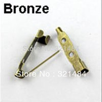 Wholesale Antique Bar Pin - Free ship! 1000PCS 25mm Antique bronze with Two Hole Safety Pin Brooch bar pin Back Findings
