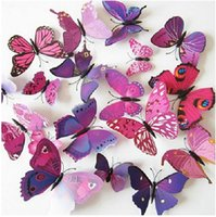 mariposas de la decoración al por mayor-12pcs Art 3D de la mariposa de la etiqueta engomada de la pared Decoración Decoración de la Habitación