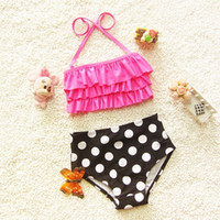 Wholesale 18 Month Girl Swimwear - Children swimming clothing Baby girls swimsuit high quality girls swimwear spandex made kids girl swimwear polka dot pattern