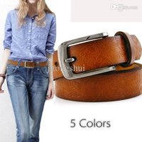 Wholesale Black Leather D Belt - Wholesale-2015 leather belts for Women belts Cintos cinturon fashion New D gun black Buckle vintage by hand belts 8 colors 3040