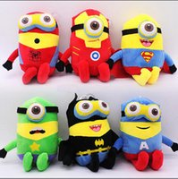 hot 23 centímetros Os Minions Despicable Me 3 Toy Plush Stuart Kevin Bob Super Heroes The Batman presente Vingadores Stuffed Dolls Capitão América Homem de Ferro