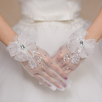 Wholesale Organza Wedding Gloves - 2015 White short Sparking Wedding gloves with Finger Wrist Lenth Organza Bow gloves Flower luvas de noiva Wedding Accessories Free Shipping