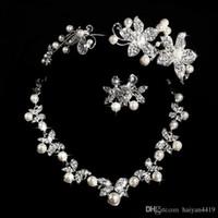 ingrosso set di collana di diamanti diadema-Hot Styles 2015 Cheap collana di perle e orecchini con diademi placcato argento strass diamante designer da sposa accessorio gioielli