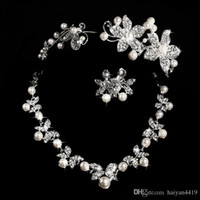 Wholesale Designer Rhinestone Bridal Jewelry Sets - Hot Styles 2015 Cheap Pearl necklace and earring set With Tiaras Silver plated Rhinestones Diamond Designer Wedding Bridal Accessory Jewelry
